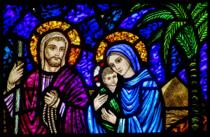 Christmas season artwork: Holy Family on flight into Egypt